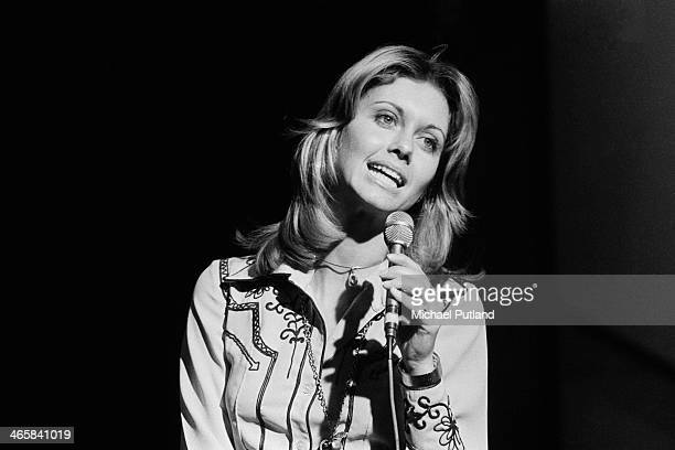 English born Australian singer and actress Olivia NewtonJohn performing on the BBC TV music show 'Top Of The Pops' London 7th March 1974