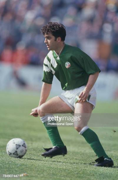 English born footballer and midfielder with the Republic of Ireland team Eddie McGoldrick pictured with the ball during the FIFA World Cup group 3...