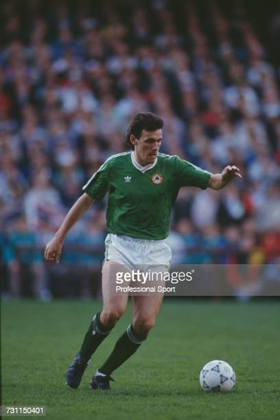 English born footballer Tony Cascarino of the Republic of Ireland team prepares to pass the ball during the UEFA European Championship qualifying...