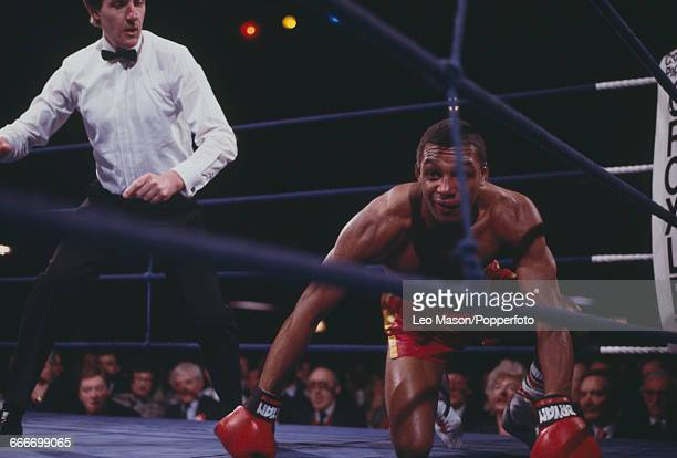 English boxer Brian Robinson is given the count by the referee during his fight against Kesem Clayton at York Hall in Bethnal Green London on 9th...