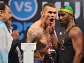 English boxer Martin Murray shouts during the weigh in at Buenos Aires Sheraton Hotel prior to the WBC middleweight world championship combat on...