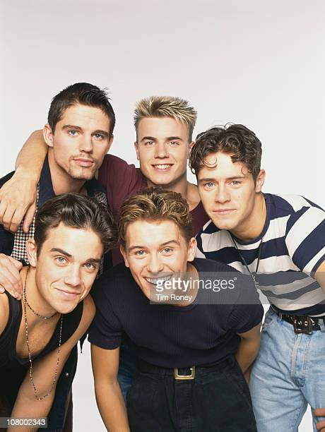 English boy band Take That circa 1992 Clockwise from top left Jason Orange Gary Barlow Howard Donald Mark Owen and Robbie Williams