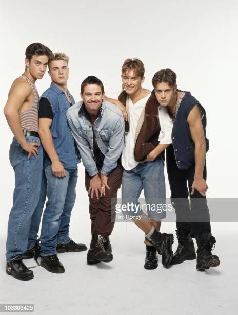 English boy band Take That circa 1992 Left to right Robbie Williams Gary Barlow Jason Orange Mark Owen and Howard Donald