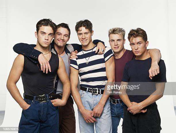 English boy band Take That circa 1992 Left to right Robbie Williams Jason Orange Howard Donald Gary Barlow and Mark Owen