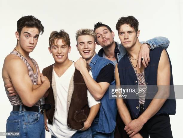 English boy band Take That circa 1992 Left to right Robbie Williams Mark Owen Gary Barlow Jason Orange and Howard Donald