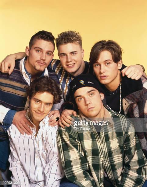 English boy band Take That circa 1993 Clockwise from top left Jason Orange Gary Barlow Mark Owen Robbie Williams and Howard Donald