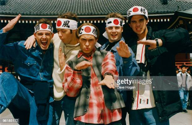 English boy band Take That visit Japan circa 1995 From left to right Jason Orange Howard Donald Mark Owen Gary Barlow Robbie Williams circa 1995