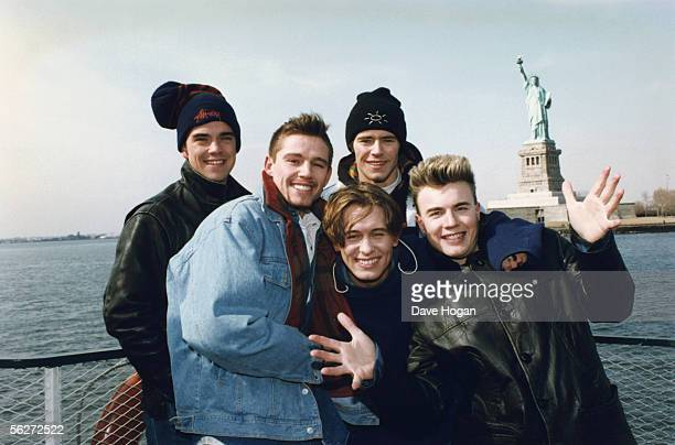 English boy band Take That visit New York circa 1995 From left to right Robbie Williams Jason Orange Mark Owen Howard Donald and Gary Barlow