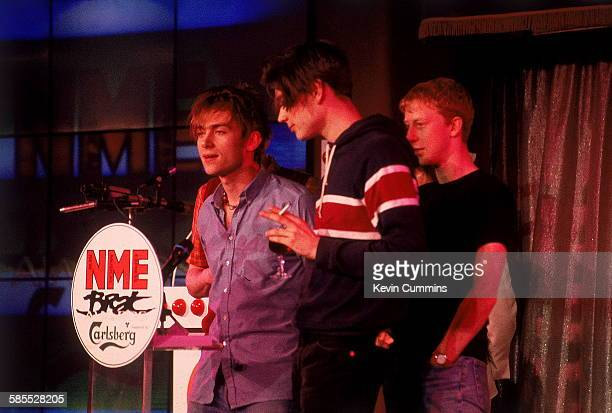 English Britpop band Blur at the NME Brat Awards London February 1995 The group were presented with four awards at the event Left to right singer...