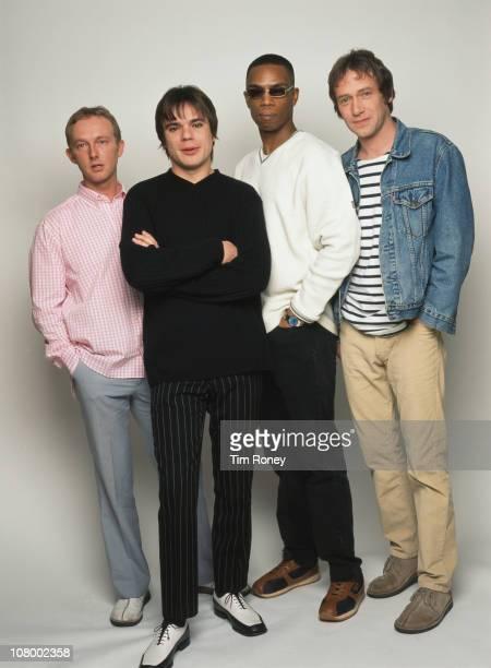 English britpop band Ocean Colour Scene circa 2001 Left to right guitarist Steve Cradock bassist Damon Minchella drummer Oscar Harrison and singer...