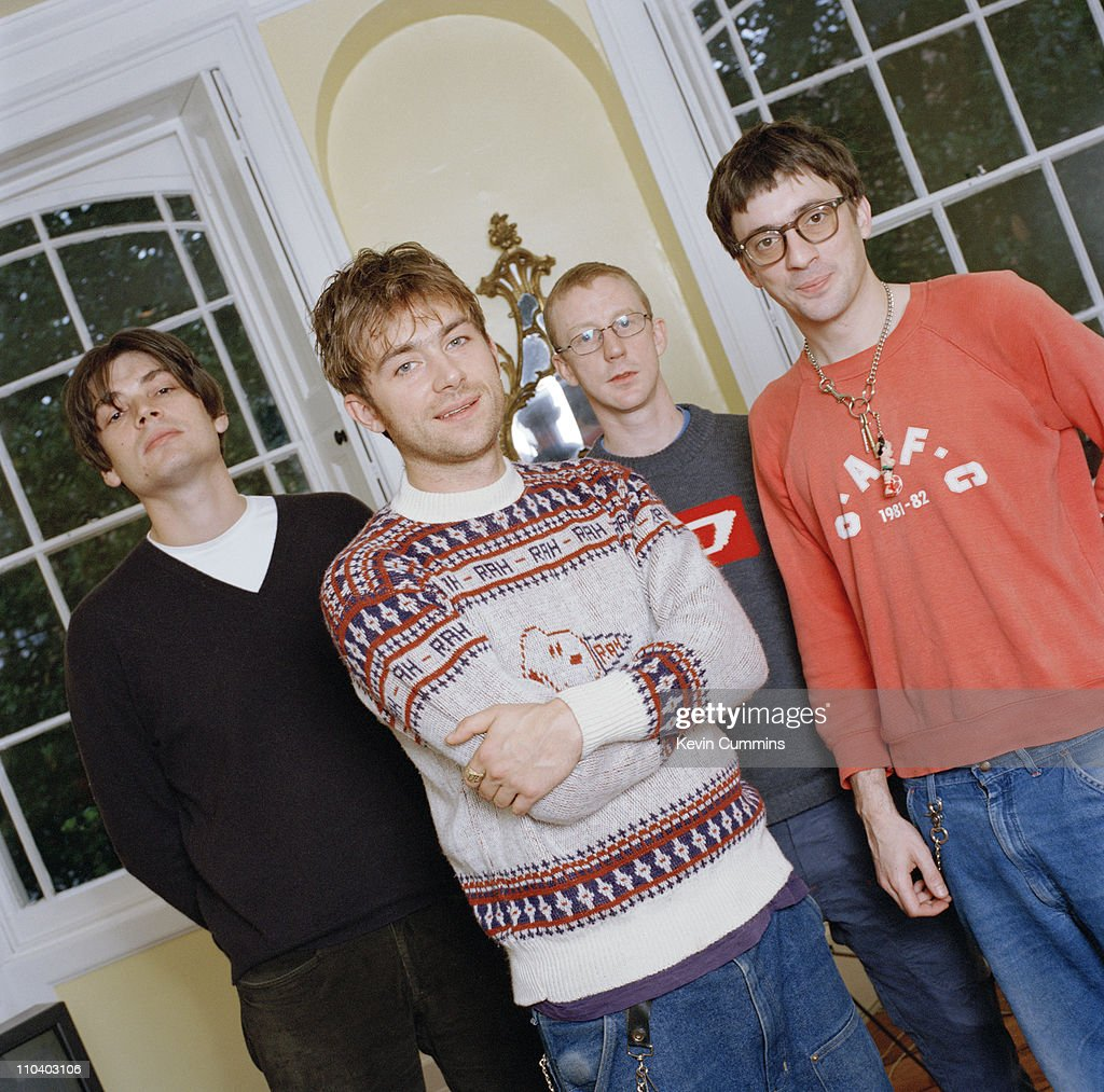 English Brit-Pop group Blur, circa 1995. Left to right: bassist Alex James, singer Damon Albarn, drummer Dave Rowntree and guitarist Graham Coxon.