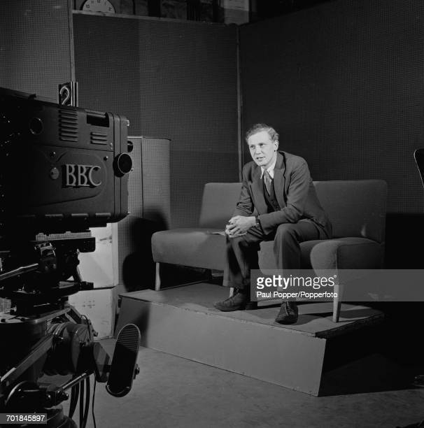English broadcaster and naturalist David Attenborough at work in a BBC TV studio 3rd March 1956