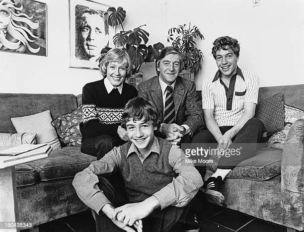 English broadcaster and talkshow host Michael Parkinson at home with his wife TV presenter Mary Parkinson and their sons Nicholas and Michael Jr...