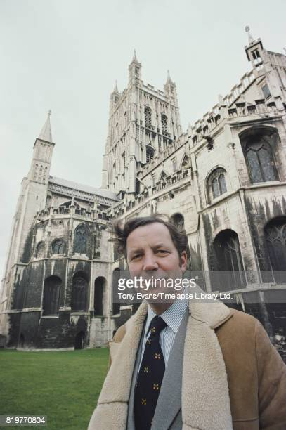 English broadcaster Geoffrey Wheeler outside Gloucester Cathedral in 1978