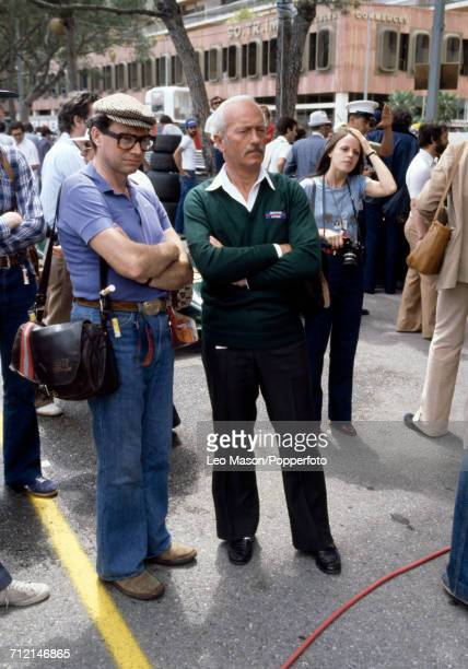 English car designer and engineer Colin Chapman founder of Lotus Cars pictured centre at the Monaco Grand Prix in Monte Carlo on 27th May 1979