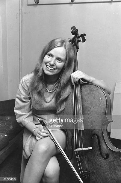 English cellist Jacqueline Du Pre in a dressing room at the Royal Albert Hall where she is giving a concert in aid of Czechoslovakian refugees