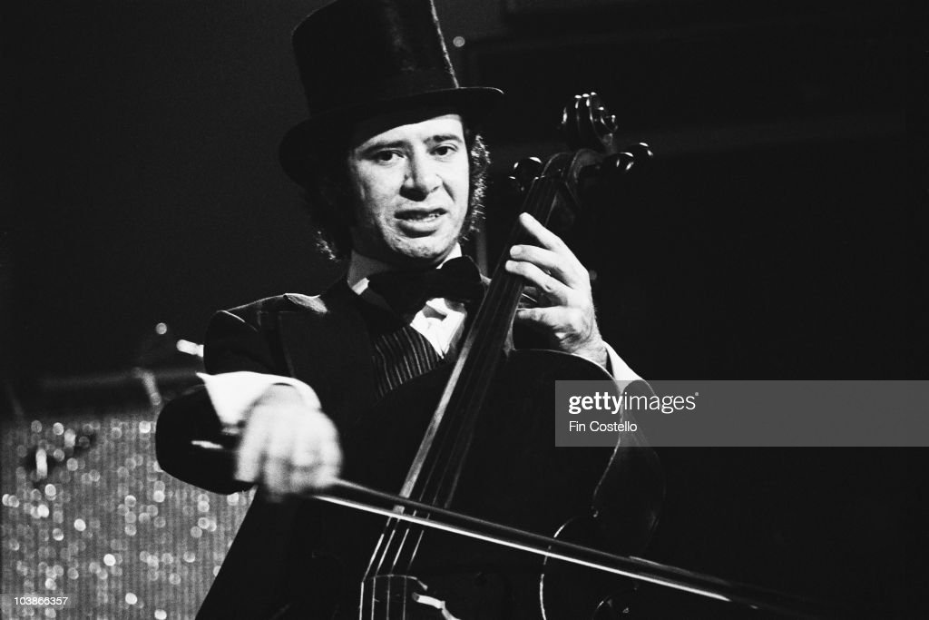 English cellist Mike Edwards (1948 - 2010) in concert with ELO (Electric Light Orchestra) in the US, November 1974.