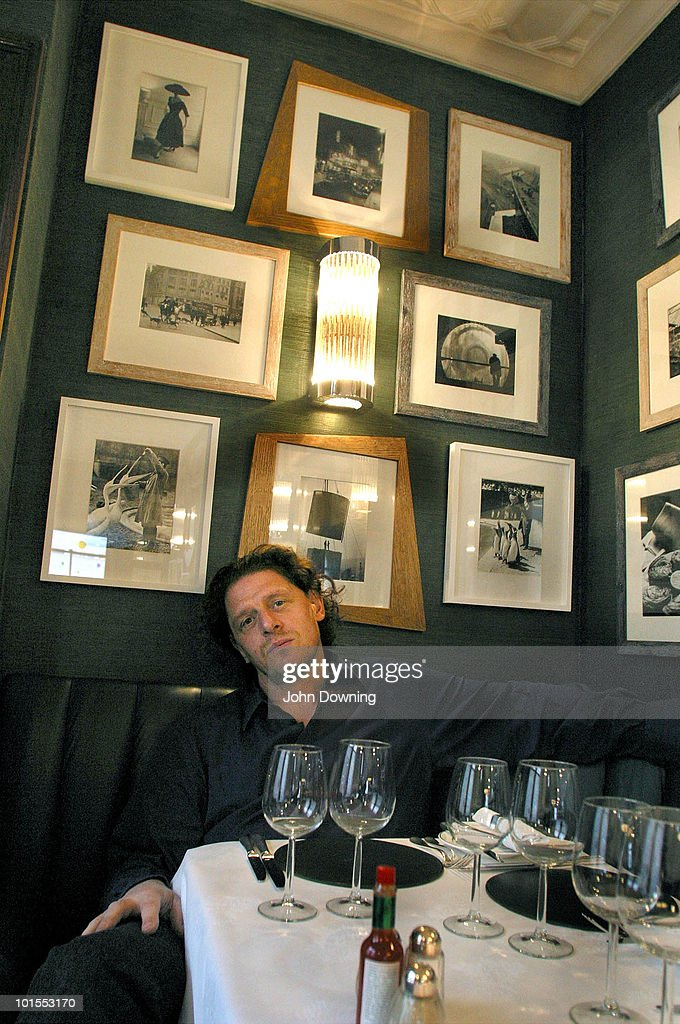 English chef and restaurateur Marco Pierre White at his fish restaurant, Wheeler's of St James's, London, March 2003.