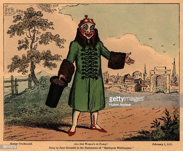 English clown Joseph Grimaldi who gave his name 'Joey' to all later clowns singing 'All the world's in Paris' from the pantomime 'Harlequin...