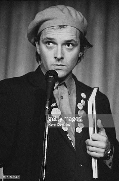 English comedian actor and writer Rik Mayall as Rick in a stage version of the television sitcom 'The Young Ones' Nottingham 23rd February 1983