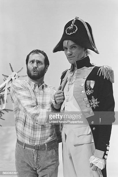 English comedian and DJ Kenny Everett and English musician and singer Sting from rock group The Police dressed as a naval admiral pictured together...
