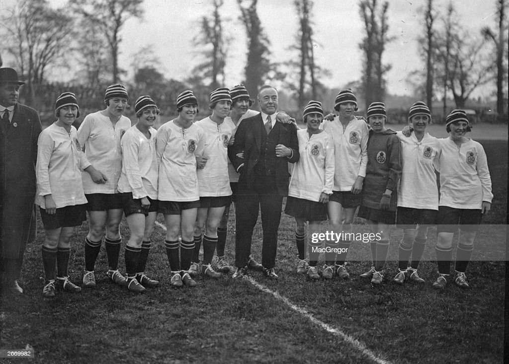 English comedian George Robey with the English Ladies team facing the French International Ladies team at Herne Hill