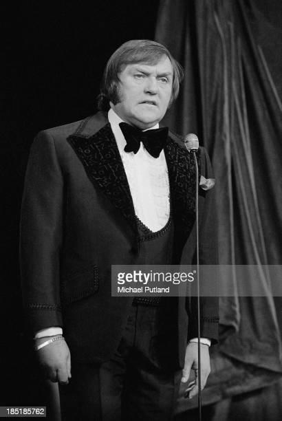 English comedian Les Dawson on stage at the London Palladium during the Royal Variety Performance London 26th November 1973