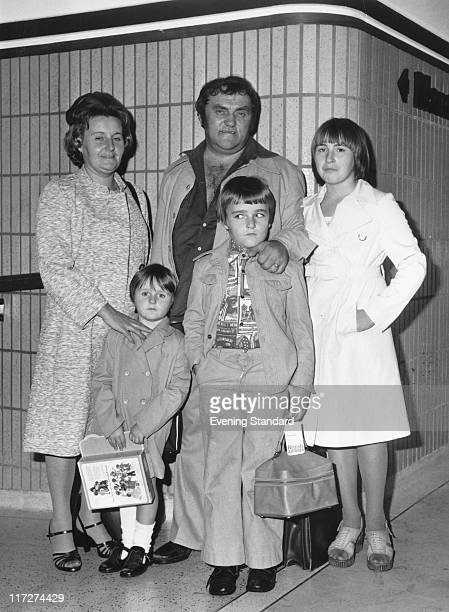 English comedian Les Dawson with his first wife Margaret and their children Julie Pamela and Stuart 1976
