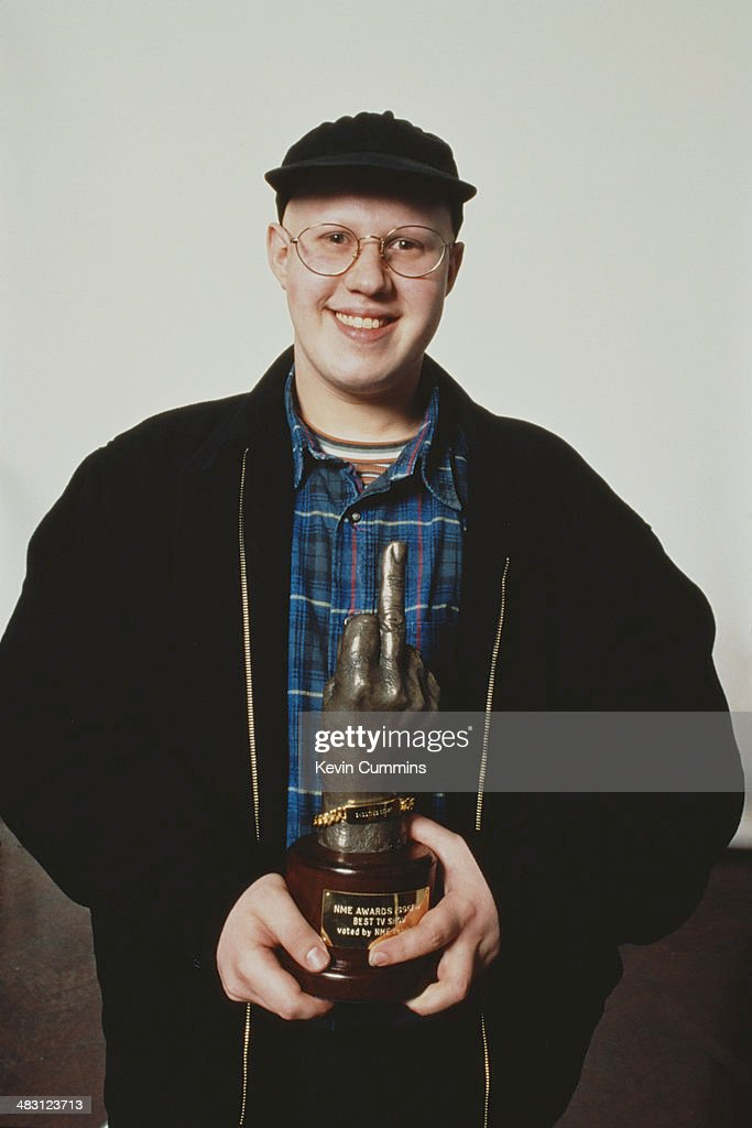English comedian <a gi-track='captionPersonalityLinkClicked' href=/galleries/search?phrase=Matt+Lucas+-+Comedian&family=editorial&specificpeople=204202 ng-click='$event.stopPropagation()'>Matt Lucas</a> holding his NME Award for his role as George Dawes in the TV comedy quiz show 'Shooting Stars', 1997.