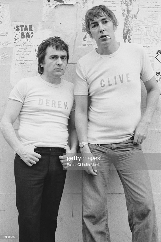 English comedians Peter Cook and <a gi-track='captionPersonalityLinkClicked' href=/galleries/search?phrase=Dudley+Moore&family=editorial&specificpeople=209351 ng-click='$event.stopPropagation()'>Dudley Moore</a> promote their show 'Derek and Clive - Live', 1976.