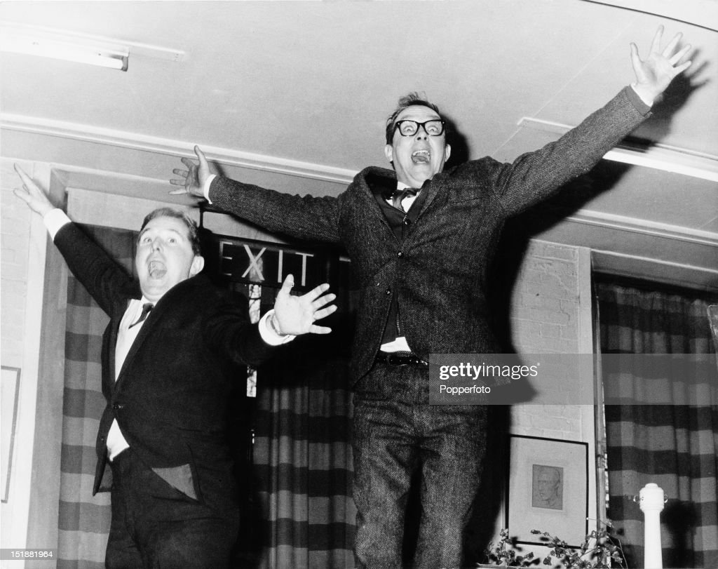 English comedy double act <a gi-track='captionPersonalityLinkClicked' href=/galleries/search?phrase=Eric+Morecambe&family=editorial&specificpeople=215236 ng-click='$event.stopPropagation()'>Eric Morecambe</a> (1926 - 1984, right) and <a gi-track='captionPersonalityLinkClicked' href=/galleries/search?phrase=Ernie+Wise&family=editorial&specificpeople=211147 ng-click='$event.stopPropagation()'>Ernie Wise</a> (1925 - 1999), circa 1965.