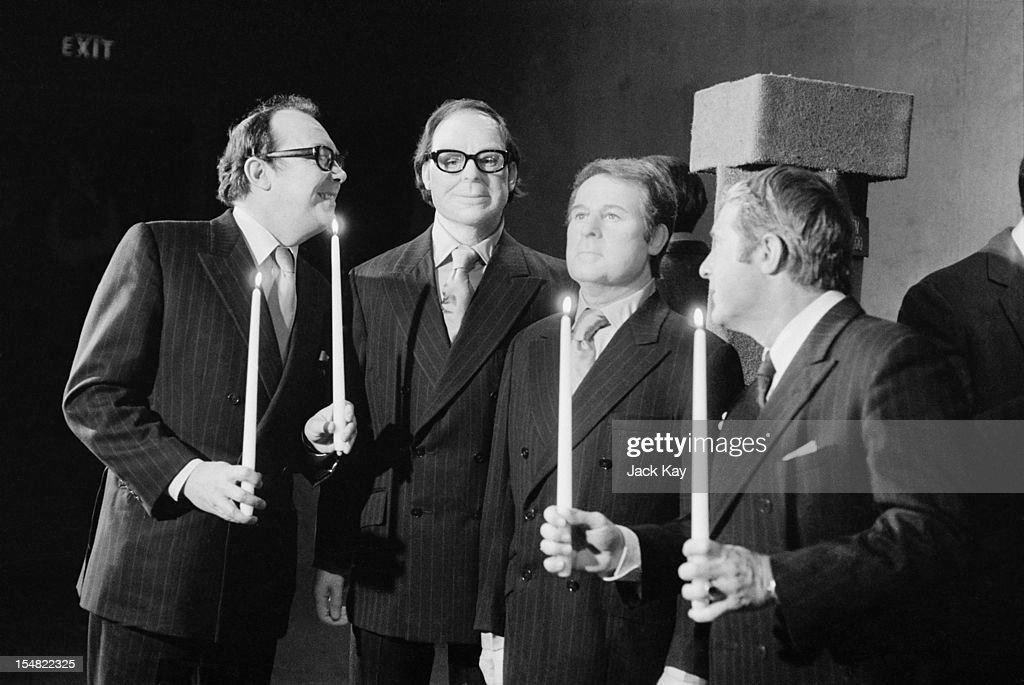 English comic double act <a gi-track='captionPersonalityLinkClicked' href=/galleries/search?phrase=Eric+Morecambe&family=editorial&specificpeople=215236 ng-click='$event.stopPropagation()'>Eric Morecambe</a> (1926 - 1984, far left) and <a gi-track='captionPersonalityLinkClicked' href=/galleries/search?phrase=Ernie+Wise&family=editorial&specificpeople=211147 ng-click='$event.stopPropagation()'>Ernie Wise</a> (1925 - 1999, far right) admiring their likenesses at the Madame Tussauds wax museum, London, 11th February 1972.