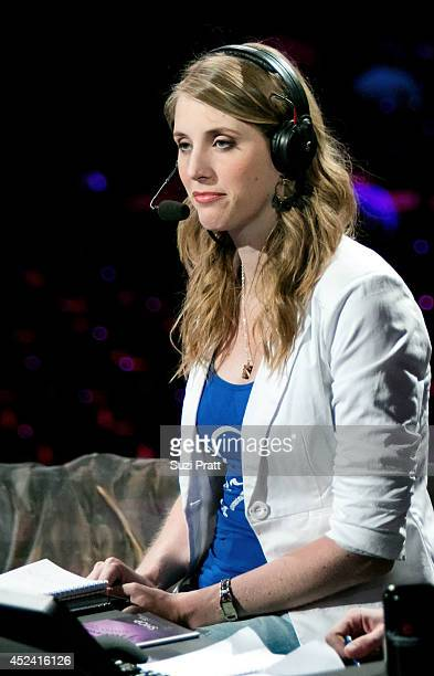 English commentator Jorien 'Sheever' van der Heijden at The International DOTA 2 Championships on July 19 2014 in Seattle Washington