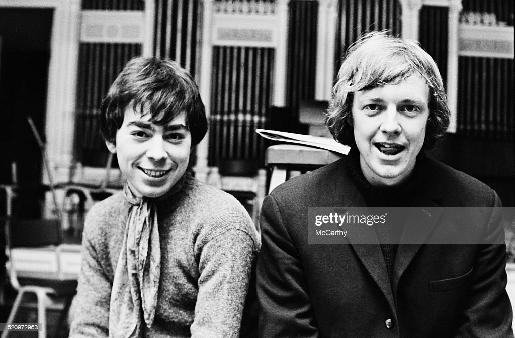 English composer and impresario of musical theatre <a gi-track='captionPersonalityLinkClicked' href=/galleries/search?phrase=Andrew+Lloyd+Webber&family=editorial&specificpeople=157705 ng-click='$event.stopPropagation()'>Andrew Lloyd Webber</a> (left) and British lyricist and author <a gi-track='captionPersonalityLinkClicked' href=/galleries/search?phrase=Tim+Rice&family=editorial&specificpeople=211433 ng-click='$event.stopPropagation()'>Tim Rice</a> during rehearsals for 'Joseph and the Amazing Technicolor Dreamcoat', 21st February 1969.