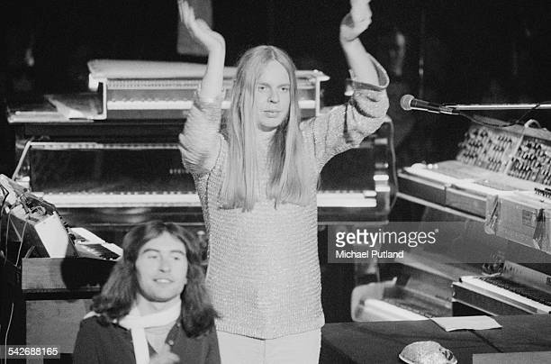 English composer and keyboard player Rick Wakeman at Wembley Arena London for a performance on ice of his concept album 'The Myths and Legends of...
