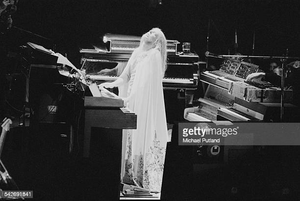 English composer and keyboard player Rick Wakeman at Wembley Arena London during a performance on ice of his concept album 'The Myths and Legends of...