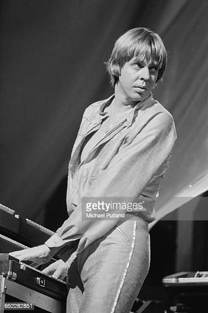 English composer and keyboard player Rick Wakeman performing on stage September 1980