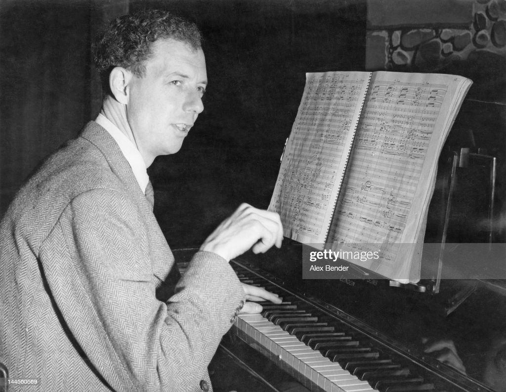 English composer and pianist <a gi-track='captionPersonalityLinkClicked' href=/galleries/search?phrase=Benjamin+Britten&family=editorial&specificpeople=213314 ng-click='$event.stopPropagation()'>Benjamin Britten</a> (1913 - 1976) plays music from his latest opera, 'Peter Grimes', 1945. Original Publication: Picture Post - 1924 - Peter Grimes: A New British Opera - pub. 23rd February 1945