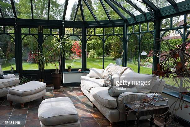 English Conservatory Sunroom with Modern Furniture