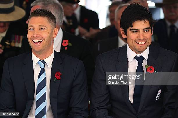 English cricket captain Alastair Cook and Australian cricket captain Michael Clarke attend the Rememberance Day Service held at the Cenotaph Martin...