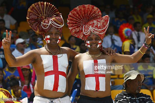 English cricket supporters look on during the 2011 ICC World Cup Quarter Final match between Sri Lanka and England at R Premadasa Stadium on March 26...