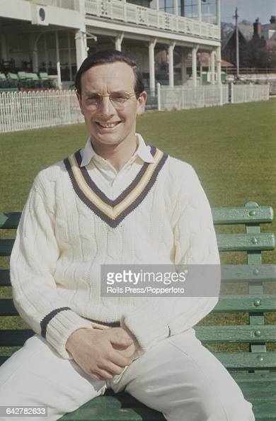 English cricketer and player for Hampshire County Cricket Club Barry Reed posed in front of the main stand and club house at the County Ground in...