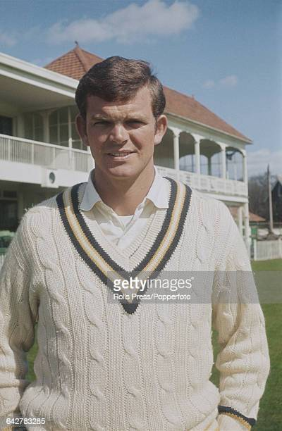 English cricketer and player for Hampshire County Cricket Club Bob Cottam posed in front of the main stand and club house at the County Ground in...