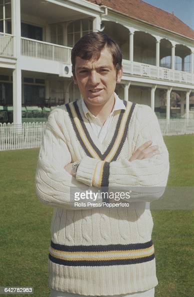 English cricketer and player for Hampshire County Cricket Club Keith Wheatley posed in front of the main stand and club house at the County Ground in...