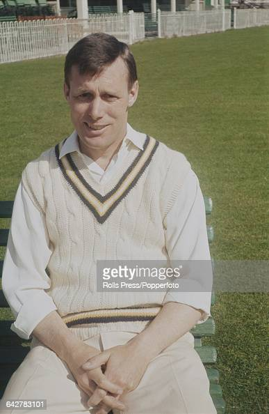 English cricketer and player for Hampshire County Cricket Club Peter Sainsbury posed in front of the main stand and club house at the County Ground...