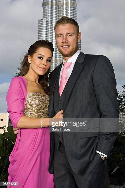 English Cricketer Andrew Flintoff and his wife Rachel Flintoff pose on location at The Address Hotel on January 28 2010 in Dubai United Arab Emirates