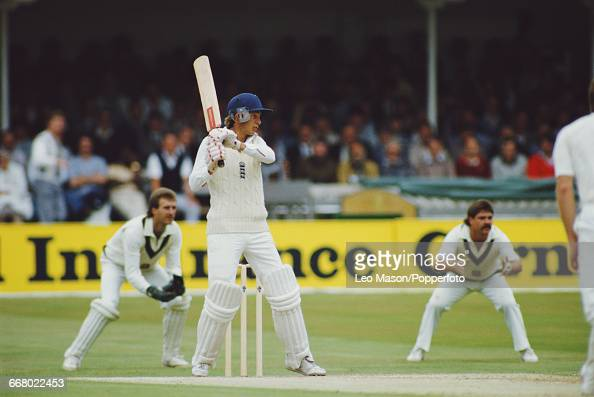 English cricketer David Gower pictured in action batting for England during play against Australia in the Third Test at Trent Bridge in Nottingham...