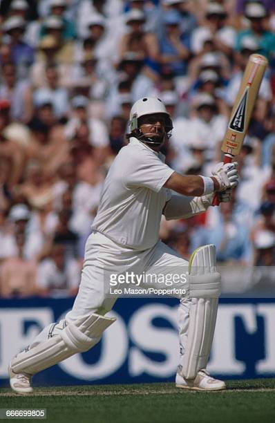English cricketer Ian Botham pictured in action batting for England during the 2nd Texaco Trophy one day international match against Pakistan at the...