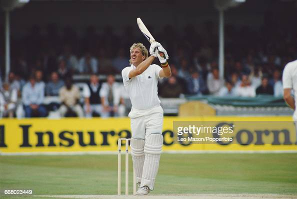 English cricketer Ian Botham pictured in action batting for England during play against Australia in the Third Test at Trent Bridge in Nottingham...