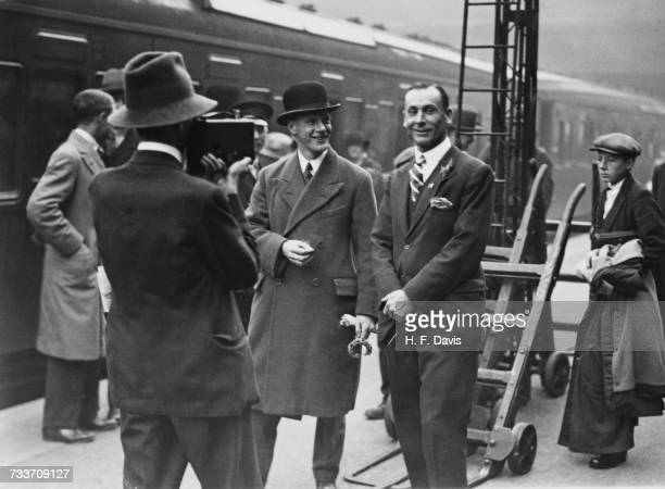 English cricketer Jack Hobbs being filmed by a fan at Victoria Station London before the departure of Hobbs and the MCC cricket team for Australia to...